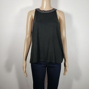Free People Black High Neck Beaded Blouse Size M
